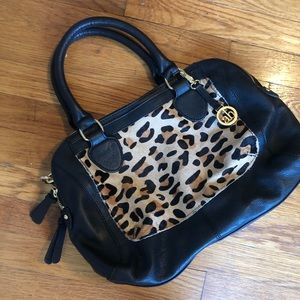 Audrey Brooke Leather and Leopard Bag